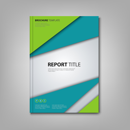 Brochures book with abstract blue green triangles template
