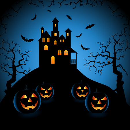 Halloween blue night with haunted castle and grinning pumpkins Illustration