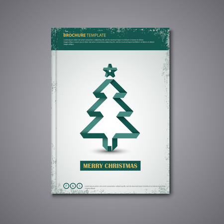Brochures book or with folded Christmas tree template