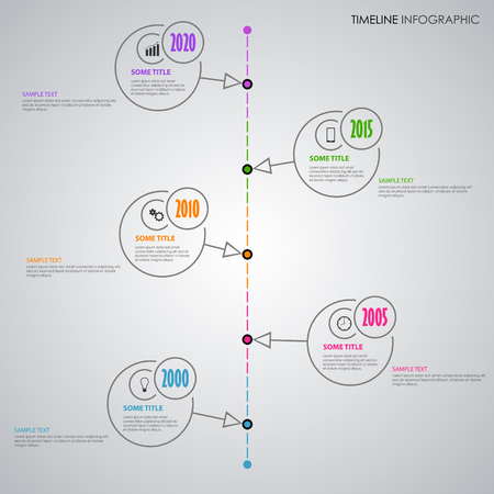 Time line info graphic with thin line circular pointers