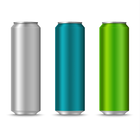 Colorful cans of drinks template