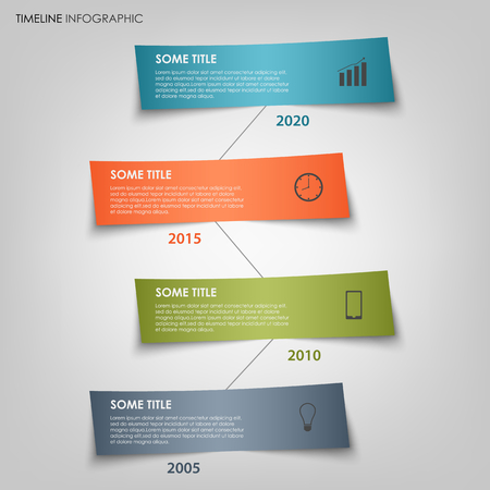 time line: Time line info graphic with colored labels bent template