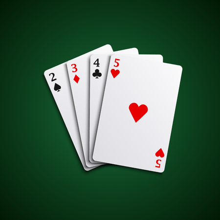 playfull: Four poker playing cards hand together Illustration