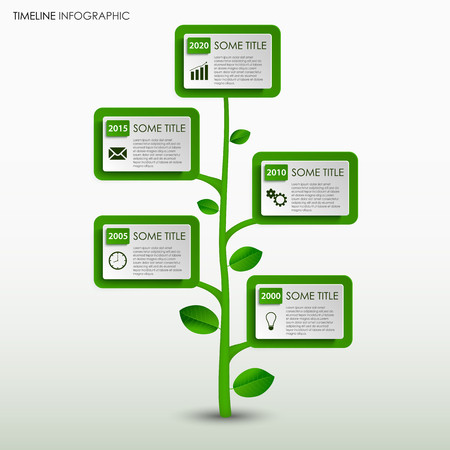 Time line info graphic with abstract green tree design template