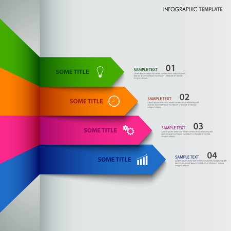 Info graphic with colorful striped indicators template