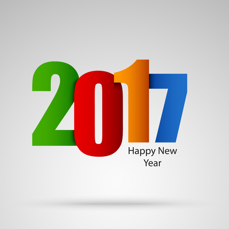 New Year card with colored numbers design template Illustration