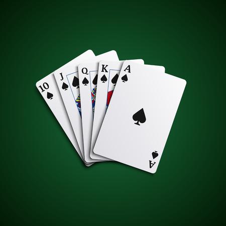 playfull: Poker cards flush leaves hand vector eps 10