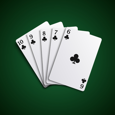 Poker cards straight flash hand template