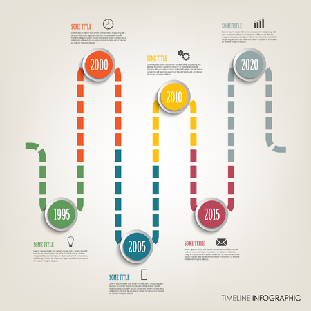 Time line info graphic with colored design tortuous direction template 向量圖像