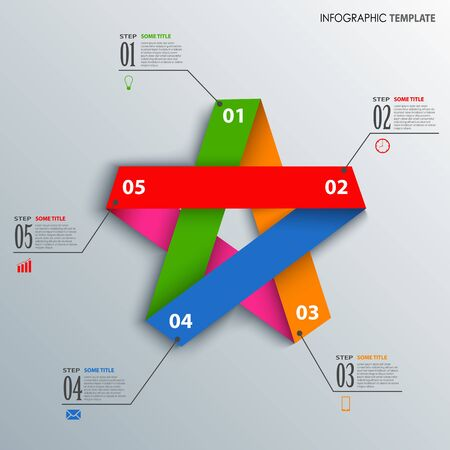 Info graphic with colorful folded paper star template