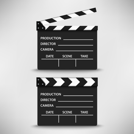 Open and closed movie flap template vector eps 10