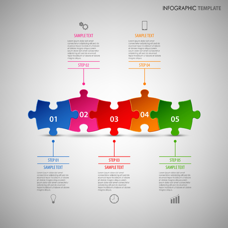Info graphic with colorful puzzle abreast template vector eps 10