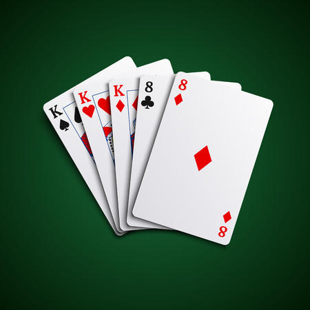 Poker hand cards full house template vector eps 10