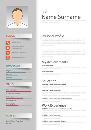 professional colored resume cv template vector eps 10 royalty free