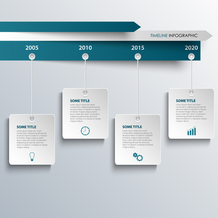 Time line info graphic with hanging white blue labels template vector eps 10 Vector Illustration