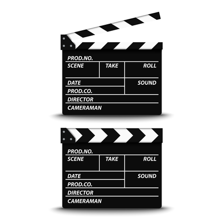 Open and closed film flap on white background vector eps 10 Vector Illustration