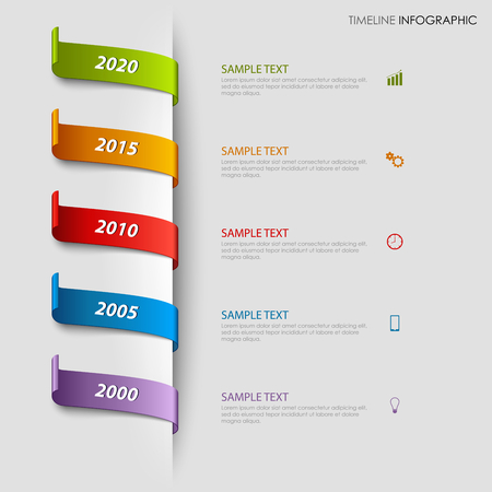 Time line info graphic with colorful bookmarks tucked template vector eps 10
