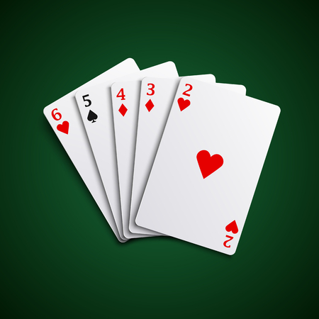 Poker hand cards straight combination template vector eps 10