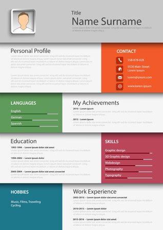 Professional colored resume cv template vector eps 10