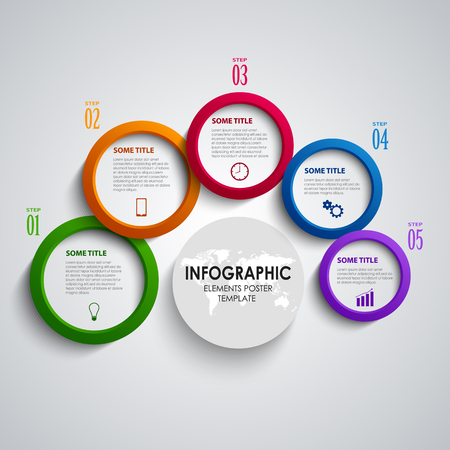 Info graphic with abstract colored round indicators template vector eps 10