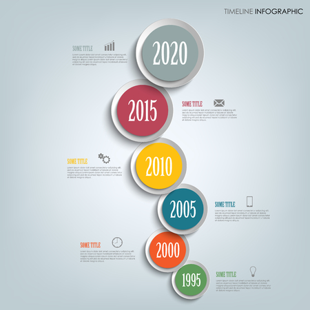 Time line info graphic vertically with round design indicators template vector eps 10 Illustration