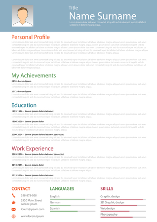 Professional resume cv structured template vector eps 10