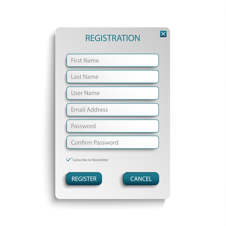 Register web screen with atypical buttons template vector eps 10