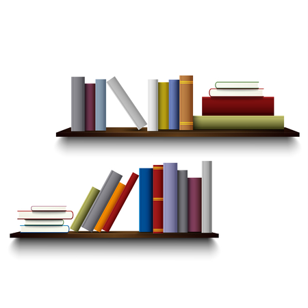 Two shelves on the white wall with different books vector eps 10
