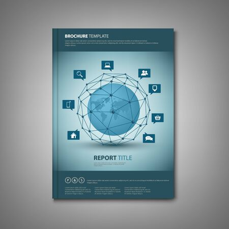 Brochures book or flyer with abstract network connection template vector eps 10 Illustration