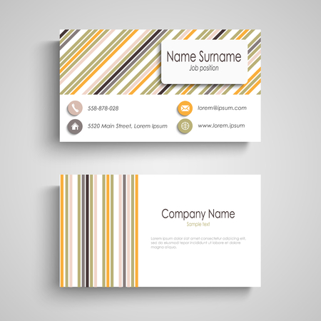 Business card with colorful retro stripes template vector eps 10 Illustration