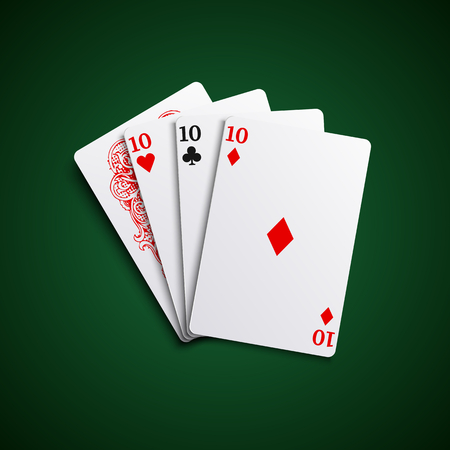 Poker hand cards three of a kind combination template vector eps 10 Illustration