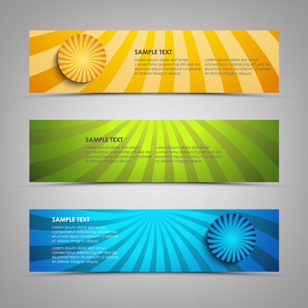 Collection banners with colorful abstract circular stripes vector eps 10