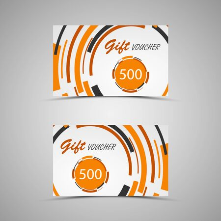 Gift voucher with abstract orange circles vector eps 10 Illustration