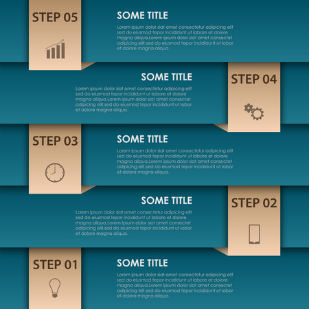 Info graphic with blue stripes and bookmarks template vector eps 10 Illustration