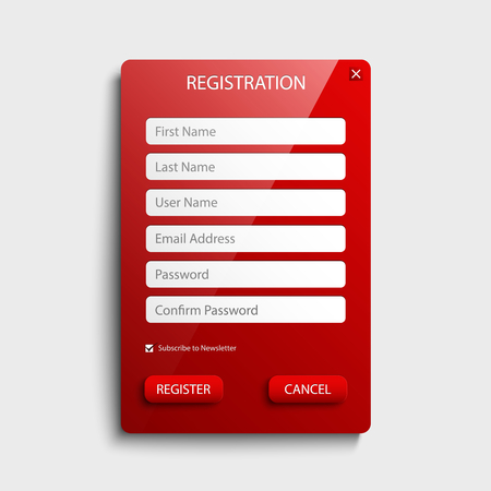 Register web screen with red button template vector eps 10