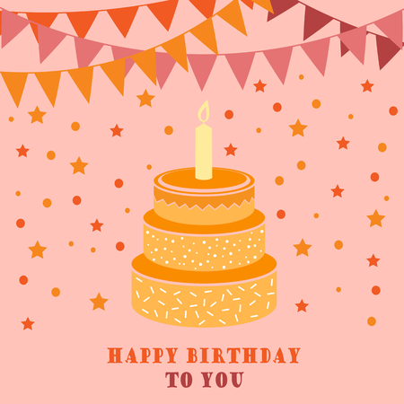 Birthday card with cake and flags vector eps 10