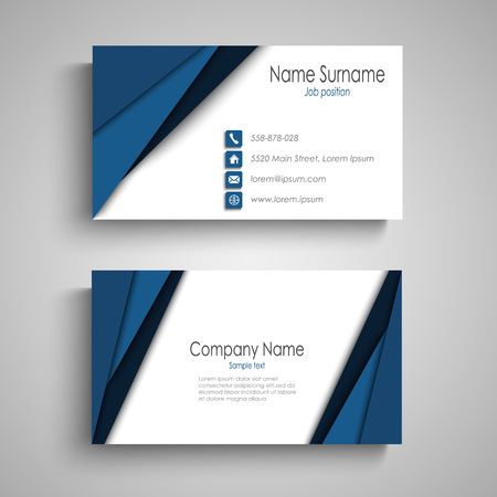 Business card with blue triangular stripes vector eps 10
