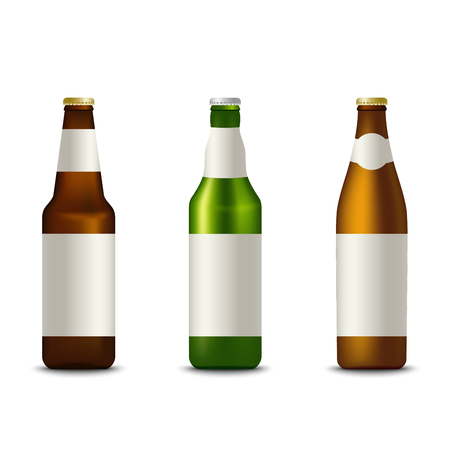 Collection different bottles of beer template vector eps 10