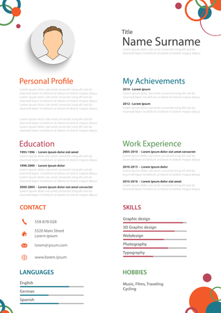 Professional colored resume cv with rings template vector eps 10