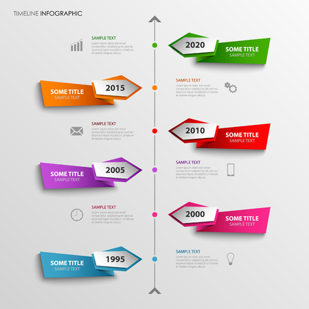 Time line info graphic with abstract colored indicators vector eps 10