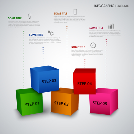 Info graphic with abstract colored cubes template vector eps 10