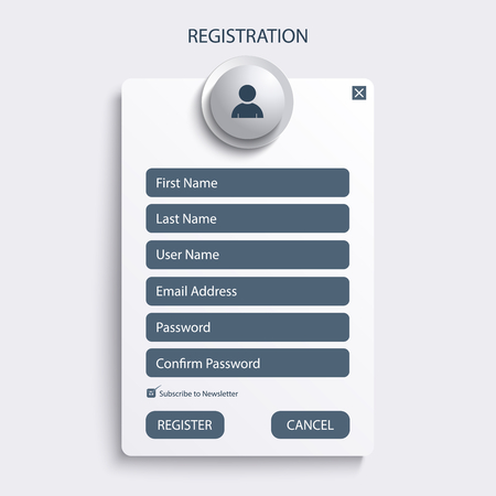 Register web screen with blue design template vector eps 10 Illustration