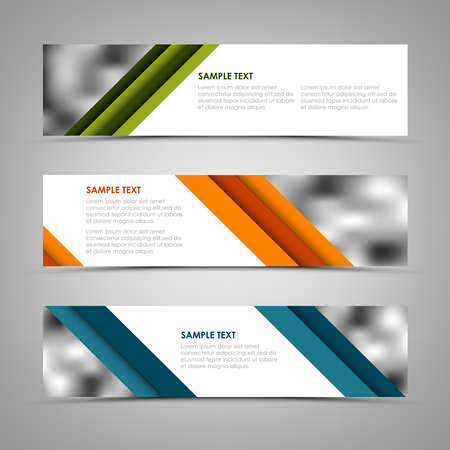 Collection banners with oblique colored stripes template vector eps 10 Ilustração