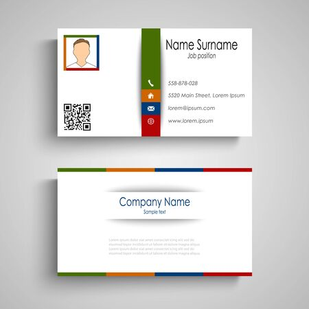 Business card with colorful slat template vector eps 10 Illustration