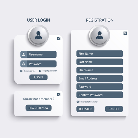Collection login and register web screen template vector eps 10