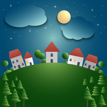 Night landscape with village and meadow background vector eps 10 Imagens - 77690431