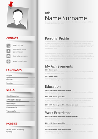 Professional resume cv as a book with tabs vector eps 10