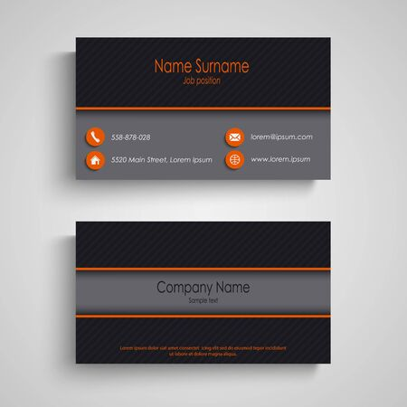 Dark business card with orange elements template vector eps 10 Ilustração