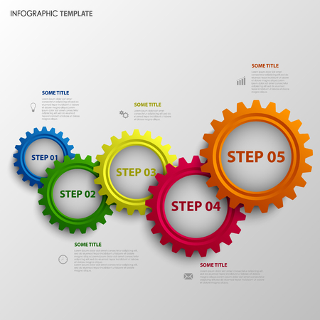 Info graphic with abstract colored design gears template vector eps 10 Illustration