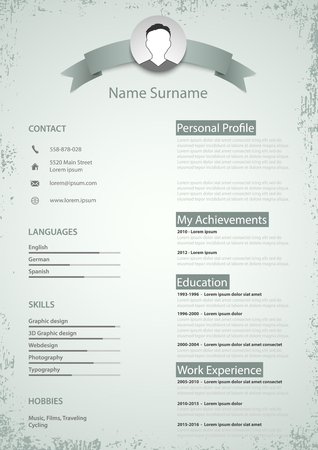 Professional colored resume cv in retro style vector eps 10